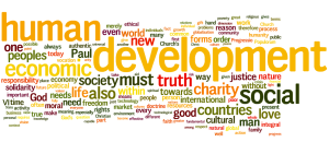 A word cloud from the social encyclical of Benedict XVI, Caritas in Veritate.